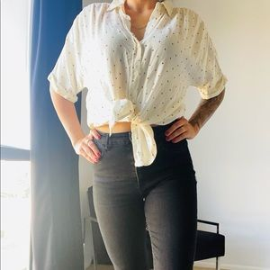 Universal thread button down positive sign blouse